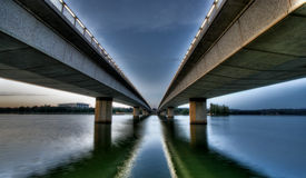 Commonwealth avenue bridge. Over Lake Burley Griffin in Canberra Royalty Free Stock Image