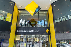 Commonwealth Bank branch in Melbourne. Melbourne, Australia - February 23, 2017: the Commonwealth Bank of Australia is Australia`s largest bank. This is its Royalty Free Stock Image