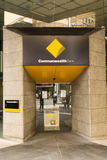 Commonwealth bank on Georges Street, Sydney. Commonwealth bank is one the most important financial institution in Australia.  Here is the main entrance of the Royalty Free Stock Photo