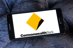 Commonwealth Bank logo. Logo of the Commonwealth Bank on samsung mobile. The Commonwealth Bank of Australia is an Australian multinational bank with businesses Stock Images