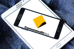 Commonwealth Bank logo. Logo of the Commonwealth Bank on samsung mobile. The Commonwealth Bank of Australia is an Australian multinational bank with businesses Royalty Free Stock Images