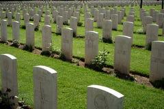 Commonwealth Cementry - Montecassino. Gravestones at the Commonwealth British English WWII cemetery at Montecassino, Lazio, Italy Royalty Free Stock Photo