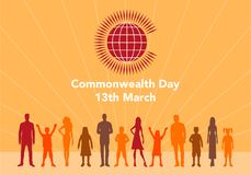 Commonwealth Day illustration. Vector illustration of the globe with people around it on white background with lettering. The illustration concerns the Vector Illustration
