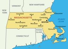 Commonwealth du Massachusetts - carte de vecteur illustration stock
