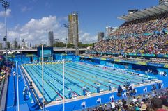 2018 Commonwealth Games Swimming Venue. A view of the swimming pool of the Optus Aquatic Centre located in Southport in the Gold coast in Australia. This is the stock images