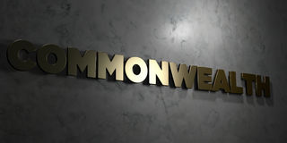 Commonwealth - Gold text on black background - 3D rendered royalty free stock picture. This image can be used for an online website banner ad or a print Stock Photography