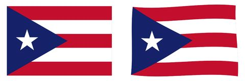 Commonwealth of Puerto Rico flag. Simple and slightly waving version. Commonwealth of Puerto Rico flag. Simple and slightly waving versionn vector illustration