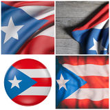 Commonwealth of Puerto Rico flag waving. Composition of four 3d rendering of Puerto Rico flags waving Stock Photos