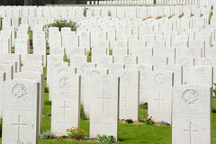 Commonwealth war graves in France. Commonwealth war graves showing close view of the headstones to the unknown dead Royalty Free Stock Photo