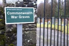 Commonwealth war graves memorial in church graveyard for soldiers served for country royalty free stock image