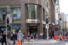 Commonwealthbank auf Ecke von Margaret-Straße, CBD-Bereich mit c stockfotografie