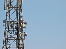 Comms Tower. Telecommunications tower with various signal receptors and relays located in Mtarfa in Malta Stock Photos
