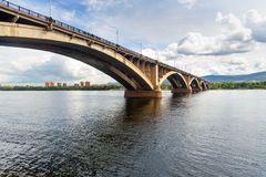 Communal bridge across the Yenisei river. Krasnoyarsk, Russia. Communal bridge across the Yenisei river in Krasnoyarsk, Siberia. Russia Royalty Free Stock Image
