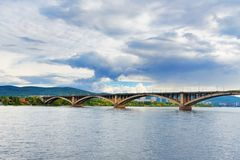 Communal bridge across the Yenisei river. Krasnoyarsk, Russia. Communal bridge across the Yenisei river in Krasnoyarsk, Siberia. Russia Royalty Free Stock Photo