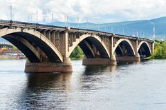 Communal bridge across the Yenisei river. Krasnoyarsk, Russia. Communal bridge across the Yenisei river in Krasnoyarsk, Siberia. Russia Royalty Free Stock Images