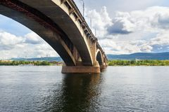 Communal bridge across the Yenisei river. Krasnoyarsk, Russia. Communal bridge across the Yenisei river in Krasnoyarsk, Siberia. Russia Royalty Free Stock Photography
