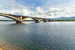 Communal bridge across the Yenisei river. Krasnoyarsk, Russia. Communal bridge across the Yenisei river in Krasnoyarsk, Siberia. Russia Stock Photo