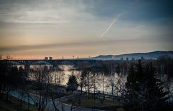 Communal bridge in Krasnoyarsk. Communal bridge on Yenisei in Krasnoyarsk Stock Image