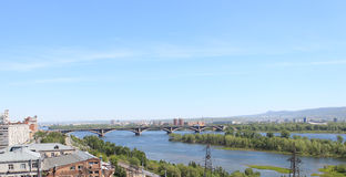 Communal Bridge over the Yenisei. Krasnoyarsk Stock Photography