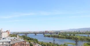 Communal Bridge over the Yenisei. Krasnoyarsk Stock Photography