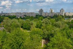 Communal buildings with large park Royalty Free Stock Photos