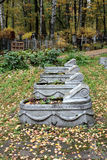 Communal grave. In the Theological cemetery in St.Peterburg Stock Photo