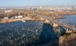 Communale Brug in Krasnoyarsk Stock Afbeelding