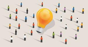 Communauté d'ampoule d'ides de foule-approvisionnement de Crowdfunding la grande des personnes se tenant ensemble ensemble illustration libre de droits