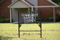 Communautair Baptist Church Yard Sign, Millington, TN stock afbeelding