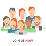 Communautaire mensen sociale affiche, vlakke vectorillustratie Stock Afbeelding