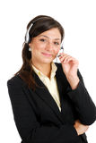 Communcations business woman holding her headset Stock Image