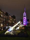 Commune of Schaerbeek in Brussels illuminate with lights. Stock Photography