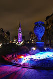 Commune of Schaerbeek in Brussels illuminate with lights. Stock Images