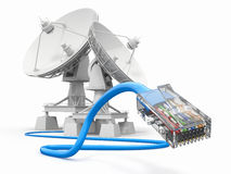 Communiation. Satellite dish with cable. Royalty Free Stock Photography
