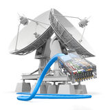 Communiation. Satellite dish with cable. Stock Image