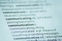 Communicate. Close up of the dictionary definition of communicate Royalty Free Stock Photography