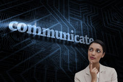 Communicate against futuristic black and blue background Royalty Free Stock Image