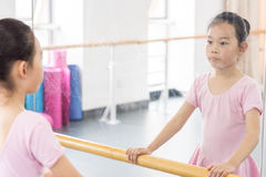 Communicate with-In the dance rehearsal room girl Stock Photo