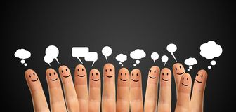 Communicate finger smileys Royalty Free Stock Photos