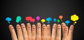 Communicate finger smileys Stock Images