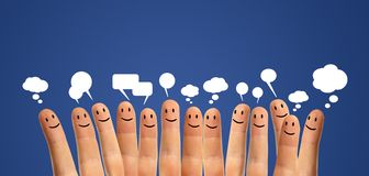 Communicate finger smileys Royalty Free Stock Image
