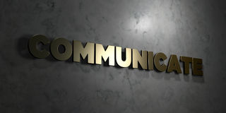 Communicate - Gold text on black background - 3D rendered royalty free stock picture. This image can be used for an online website banner ad or a print Stock Images