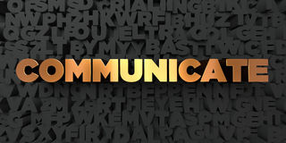 Communicate - Gold text on black background - 3D rendered royalty free stock picture. This image can be used for an online website banner ad or a print Stock Photos