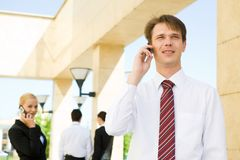 Communicate by phone Royalty Free Stock Photos
