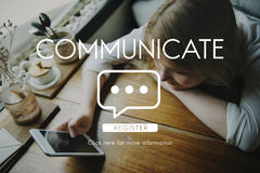 Communicate Speech Technology Girl Connection Royalty Free Stock Image
