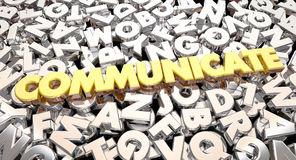 Communicate Word Letters Collage Share Ideas. 3d Animation Stock Images