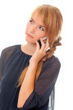 Communicates on cell phone Royalty Free Stock Photos