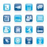 Communicatie, aansluting en technologiepictogrammen Stock Afbeeldingen