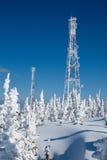 Communicatie antenn post met vorstkristallen Royalty-vrije Stock Afbeeldingen