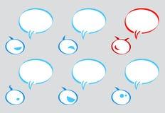 Communicatie ballons met bellenkarakter Stock Illustratie